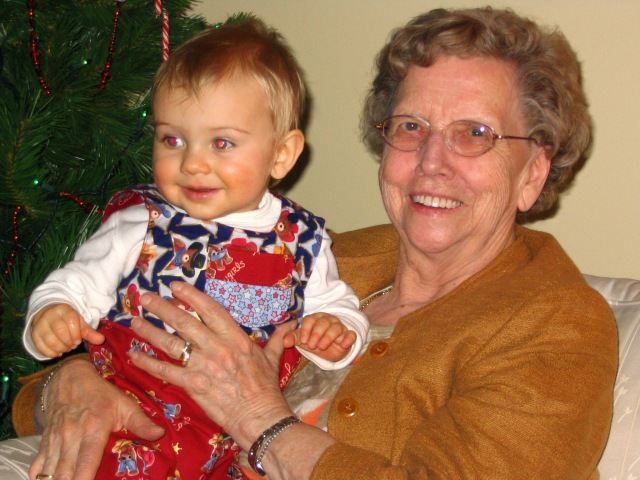 Mom with her second great grandchild. They met 16 of their 17 greats!